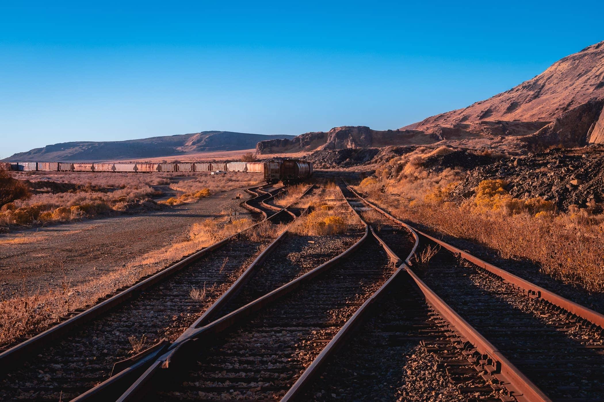 Railroad tracks intertwine in the desert near Grantsville, Utah.