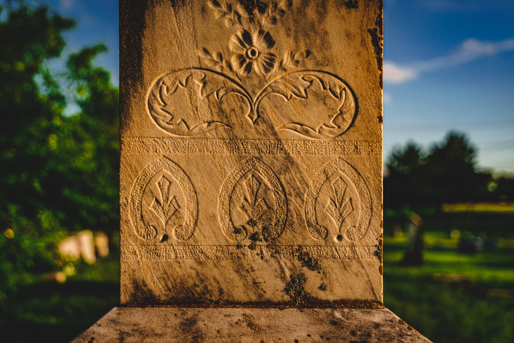 Detail of carvings on an old grave at Chambersville Cemetery, Chambersville, Texas.