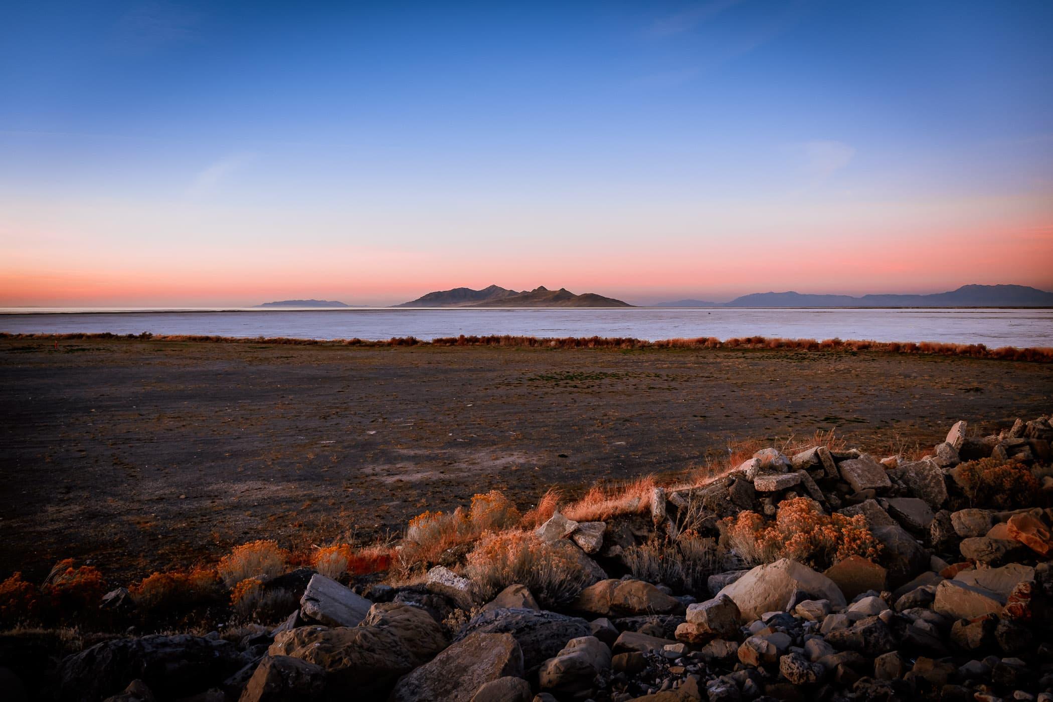 The last light of day on the Great Salt Lake, Utah.