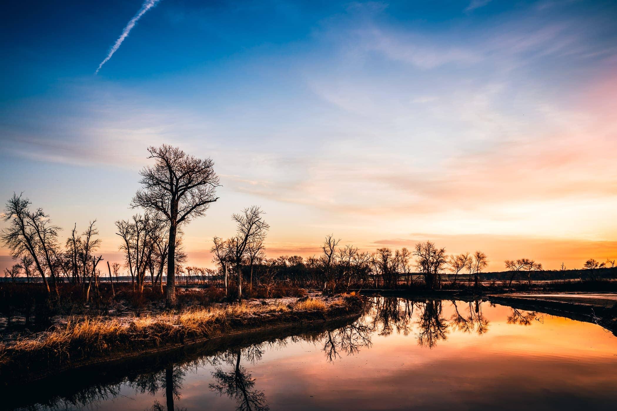 The sun rises at North Texas' Hagerman National Wildlife Refuge.