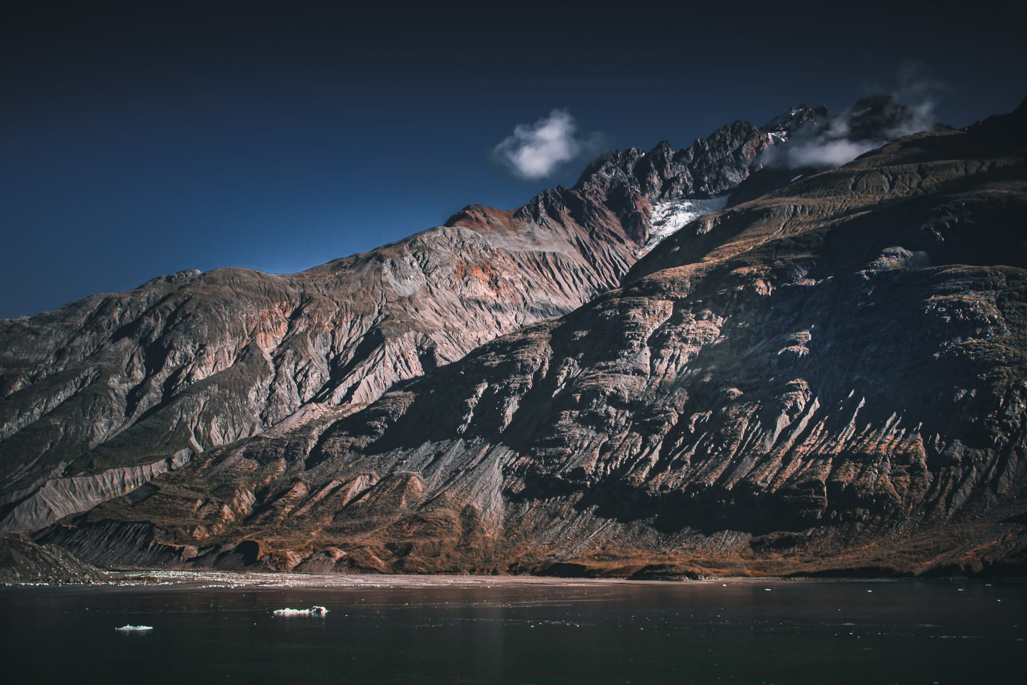 A mountain along the shore of Alaska's Glacier Bay.