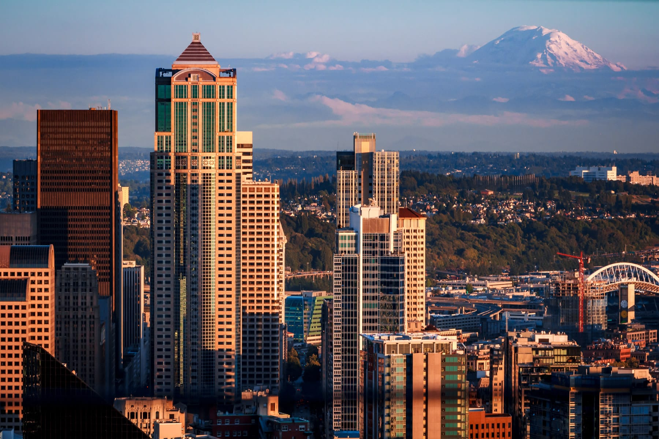 Mount Rainier looms over the Seattle cityscape.