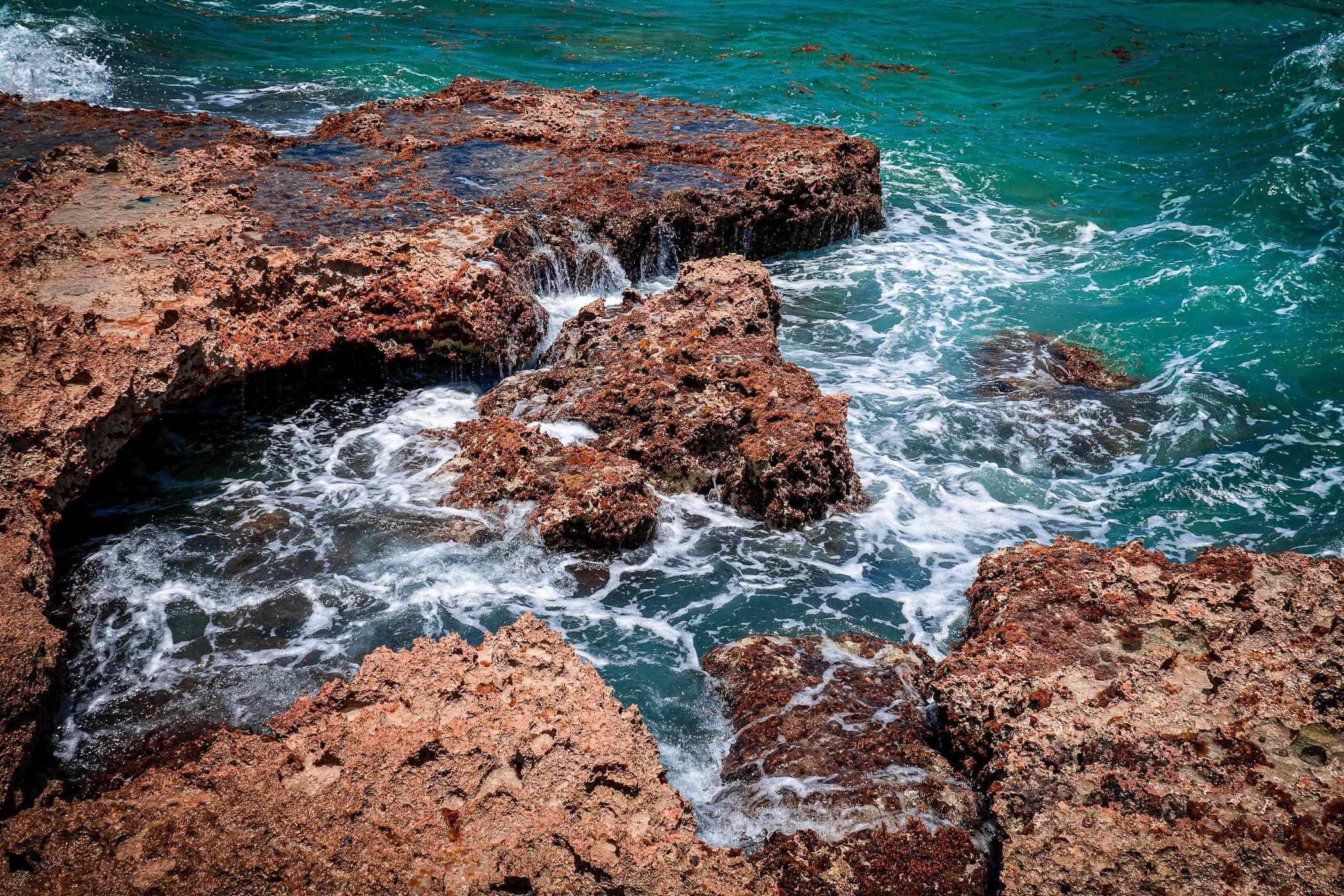 The rocky shore of Cozumel, Mexico's El Mirador.
