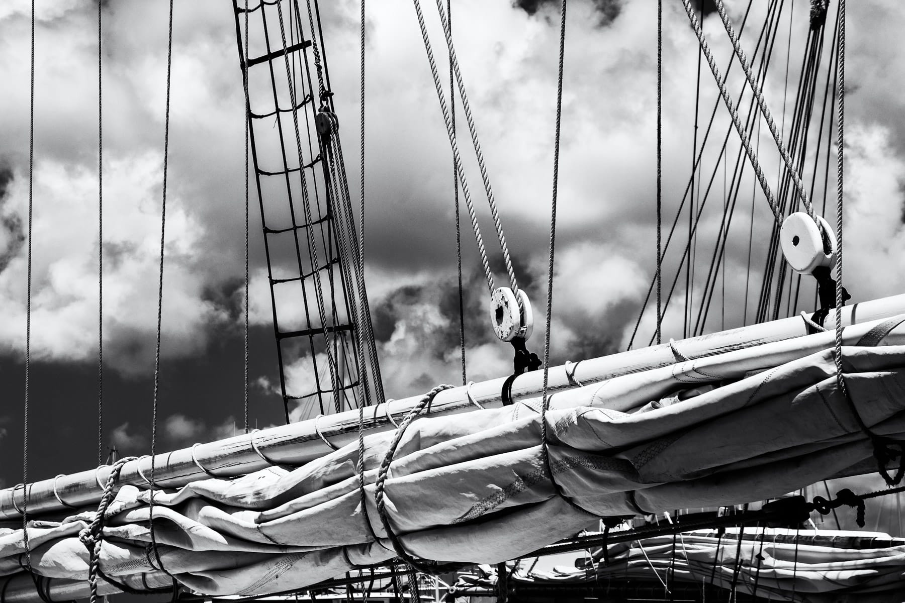 Ropes and sails on a sailboat in Key West, Florida.