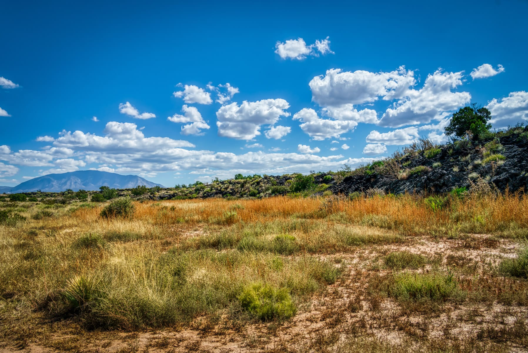 An ancient lava flow reaches towards distant mountains at the Valley of Fires in the Carrizozo Malpais, New Mexico.