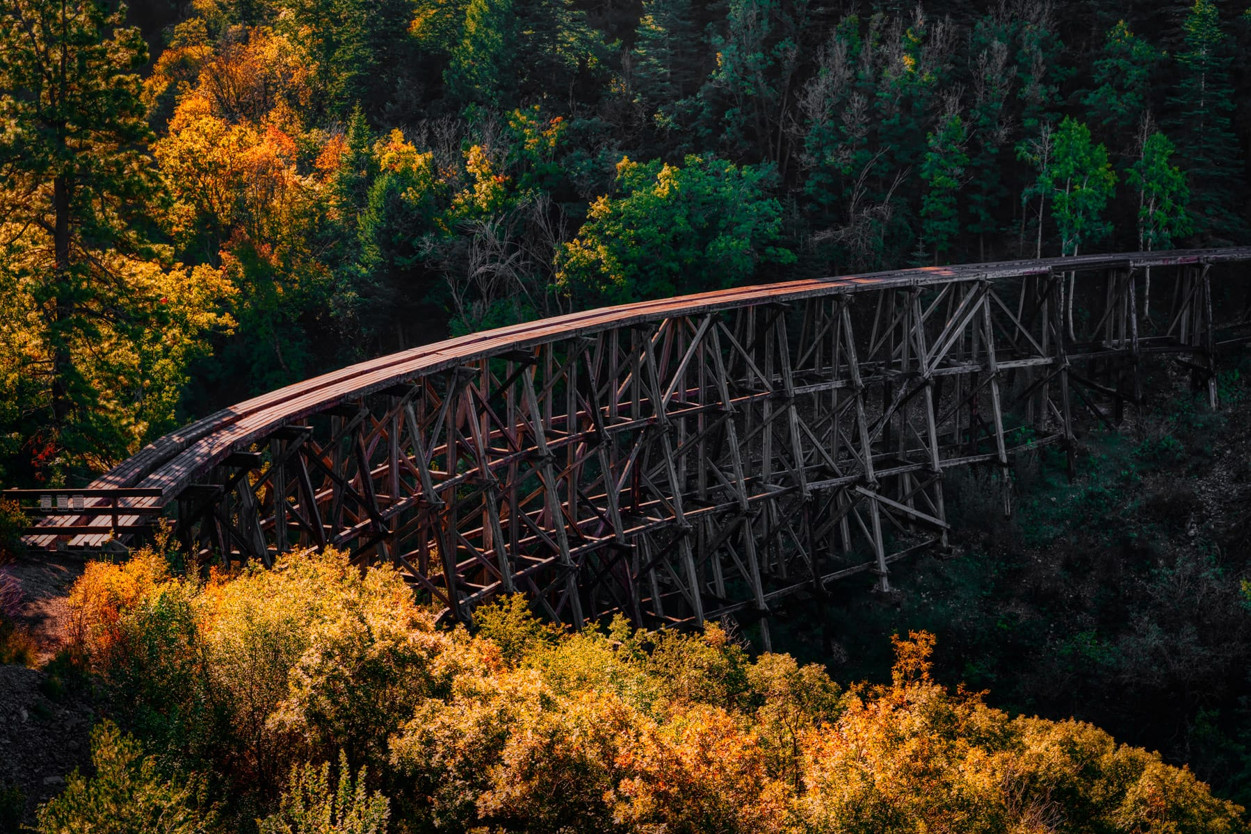 The abandoned Mexican Canyon Trestle crosses a gorge in the mountains near Cloudcroft, New Mexico.
