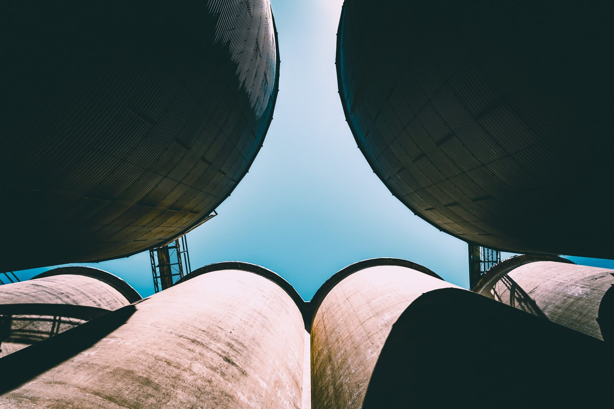 Abandoned grain silos near Downtown McKinney, Texas.